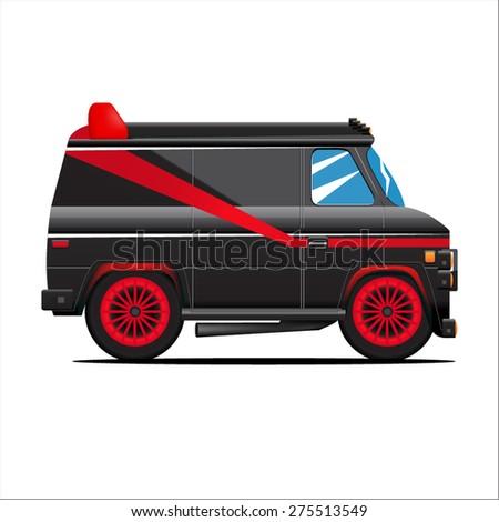 Black Van On white - stock vector