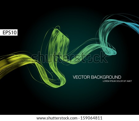 Black vector abstract dynamic ribbon wave background - stock vector