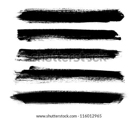 Black vector brush strokes collection - stock vector