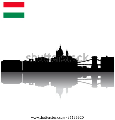 Black vector Budapest silhouette skyline with Flag of Hungary - stock vector