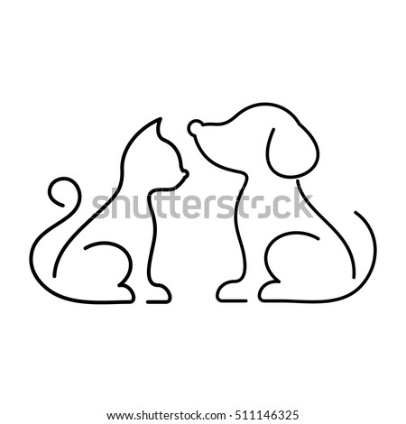 Black vector cat and dog thin line icons