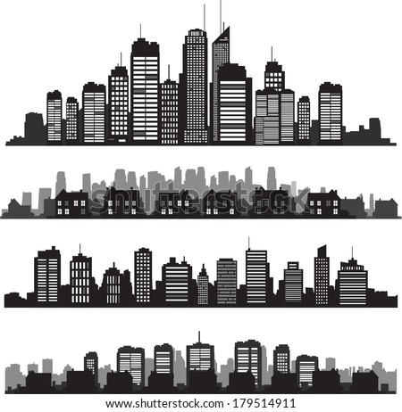 Black vector cityscapes silhouettes - stock vector