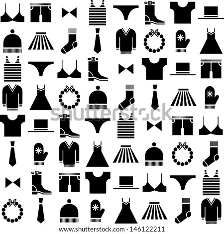 black vector clothing icons - stock vector