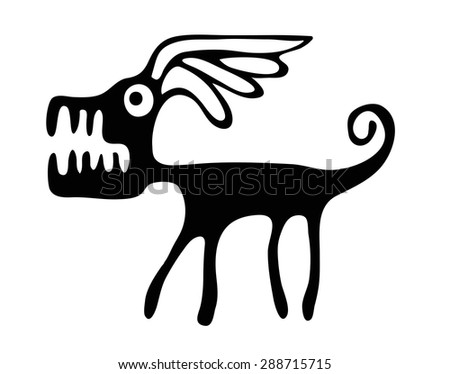 black vector dog in native style, isolated on white background - stock vector