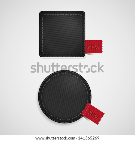 Black vector fabric badges with red ribbons - stock vector