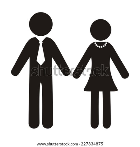 Black vector gentleman and lady silhouette icons isolated - stock vector