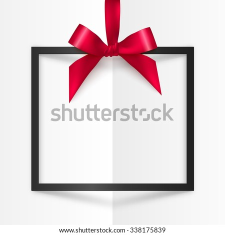 Black vector gift box frame with red silky bow and ribbon on white folded paper background - stock vector