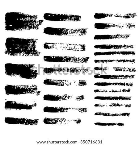 black vector grunge brushes - stock vector