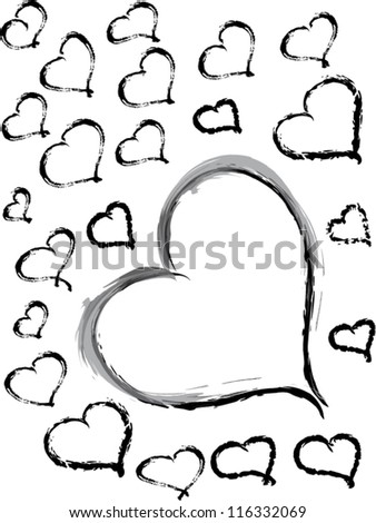 Black Vector hand drawn hearts on white background - stock vector