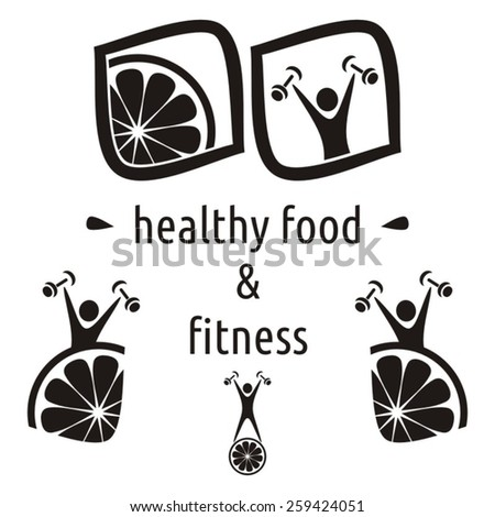 Black vector healthy food and fitness symbols isolated - stock vector
