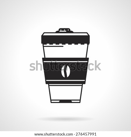 Black vector icon for plastic coffee cup with holder and lid on white background.  - stock vector