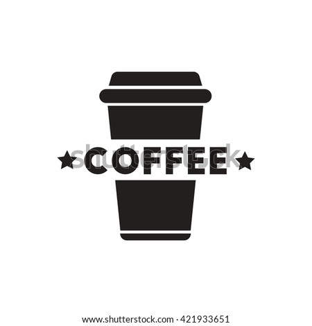 black vector icon on white background coffee to go - stock vector