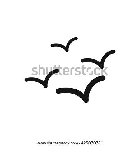 black vector icon on white background sea gulls - stock vector