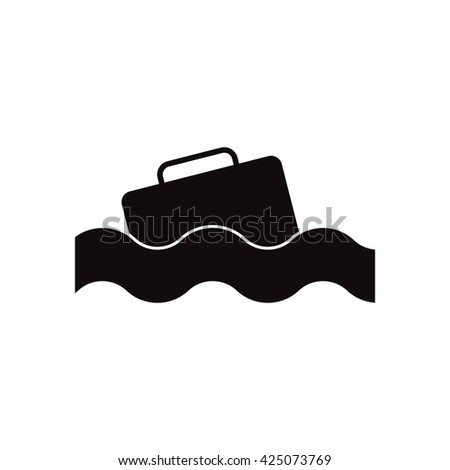 black vector icon on white background suitcase in the sea