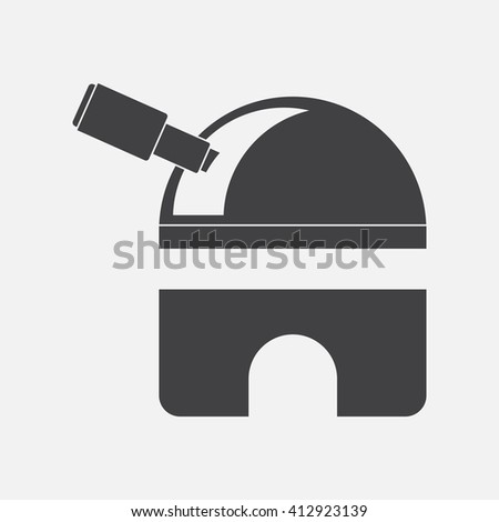 black vector icon on white background  telescope station - stock vector