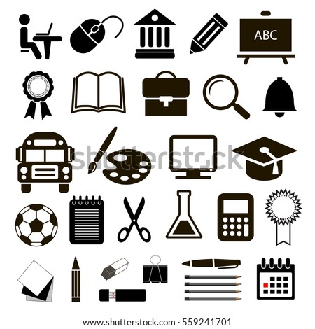 Black vector icons education set on white background