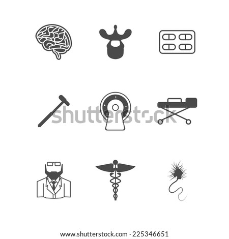 Black vector icons for neurology. Set of black silhouette vector icons with elements for neurology on white background. - stock vector