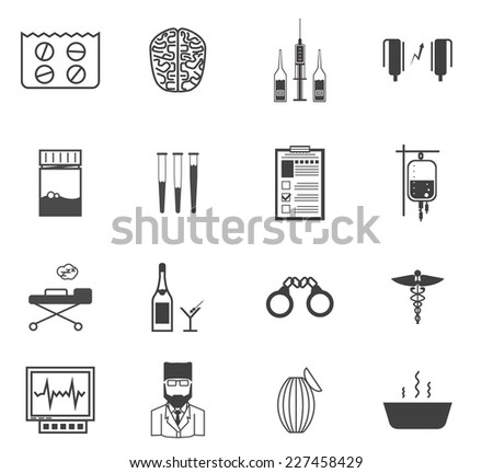 Black vector icons for the psychiatrist expert in narcology. Set of black vector icons with symbols of elements for psychiatry and narcology on white background. - stock vector