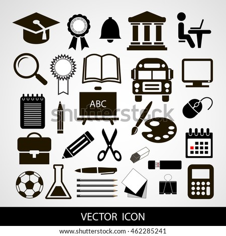 Black vector icons set of education on a gray background
