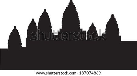 black vector illustration of angkor war  - stock vector