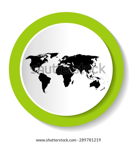 Black vector map of the world in the round icon - stock vector