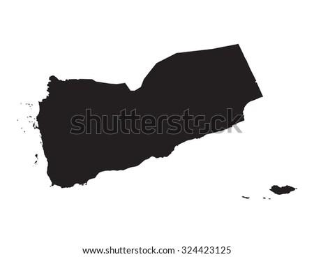 black vector map of Yemen  - stock vector