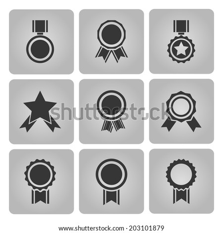 black vector medal and award icons set with stars and badges - stock vector