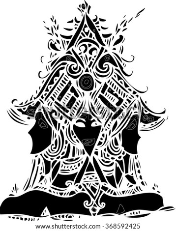 black vector of abstract line art design