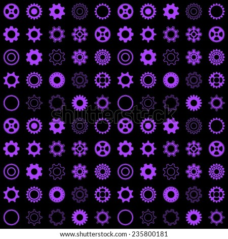 Black vector seamless pattern with violet gear wheels - stock vector