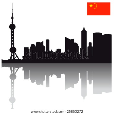 Black vector Shanghai  silhouette skyline with Flag of the People's Republic of China - stock vector