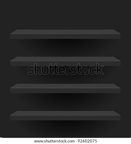 Black vector shelves for your design - stock vector