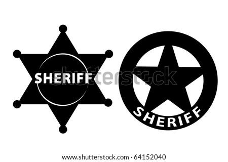 Black vector  Sheriff star on white background - stock vector