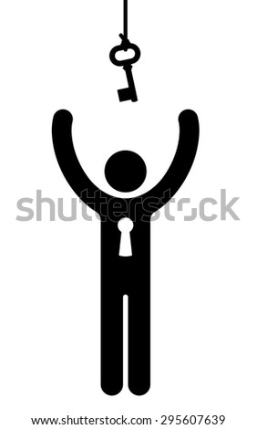 Black vector silhouette figure of a person with a keyhole in the body reaching for a key hanging from a hook above its head in a conceptual illustration - stock vector