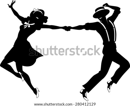 Black vector silhouette of a couple dancing swing or tap dance, no ...