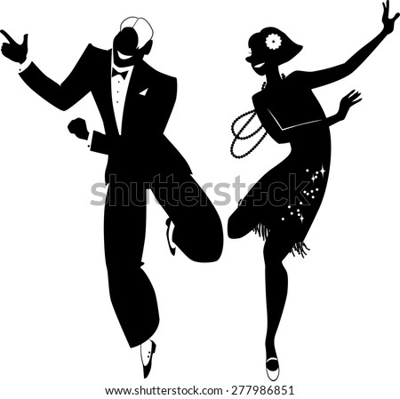 Black vector silhouette of a couple dressed in 1920s fashion dancing the Charleston, no white objects, EPS 8 - stock vector