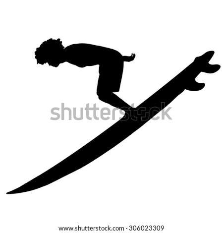 Black vector silhouette surfer on white background