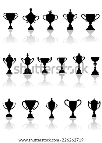 Black vector silhouette trophy icons in different shapes, some with lids, on a reflective white background