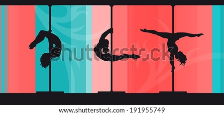 Black vector silhouettes of female pole dancers performing pole moves on abstract background.  - stock vector