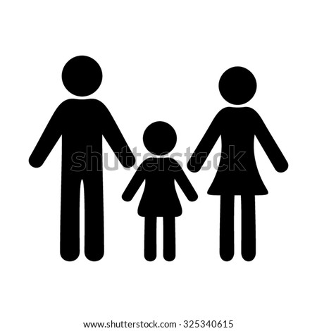 Black vector simple family icon with one girl - stock vector