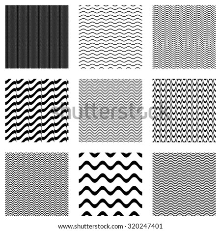 Black vector simple seamless wavy line patterns collection - stock vector