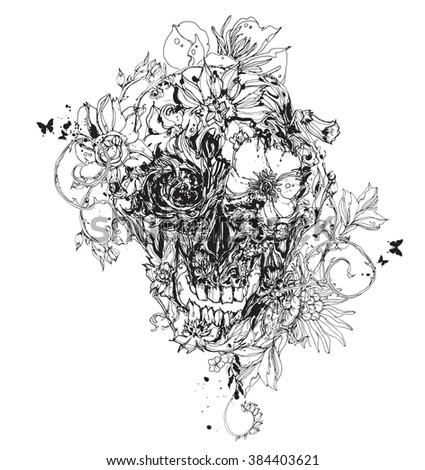 Black vector skull with flowers - stock vector