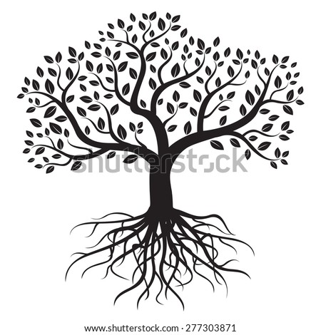 Black vector tree with roots and leafs. - stock vector