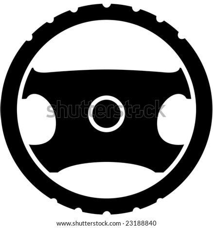 black vehicle steering wheel icon - stock vector