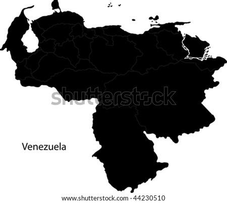 Black Venezuela map with state borders - stock vector