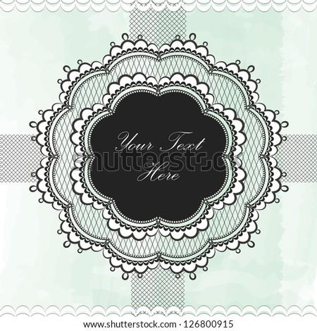 Black vintage lace border - stock vector