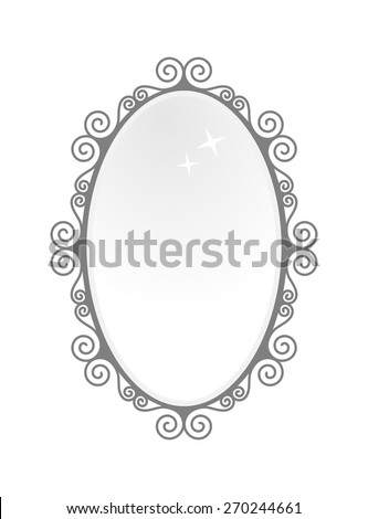 oval mirror frame. Black Vintage Oval Mirror Frame. Baroque Antique Style Design, Vector Art Image Illustration, Frame