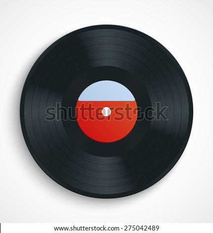 Black vinyl record album disc with blank red label. Vector illustration