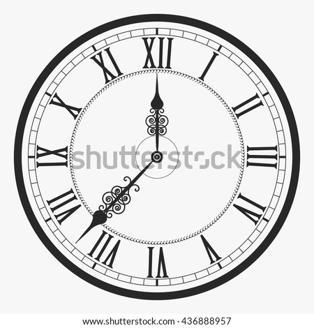 Black Wall Clock Roman Numeral Old Stock Vector Royalty