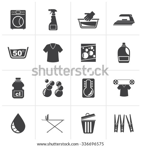 Black Washing machine and laundry icons - vector icon set - stock vector
