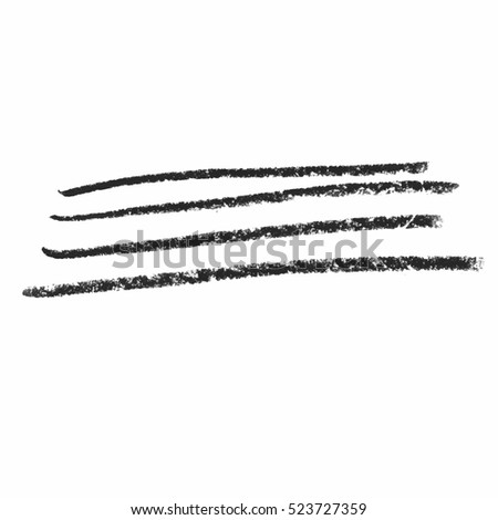 Black wax crayon strokes isolated on white. Hand drawn pastel chalk circle stripes background. Vector kids hand painting texture design element.